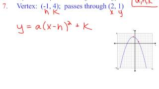 6 6c Writing The Equation For A Parabola In Vertex Form