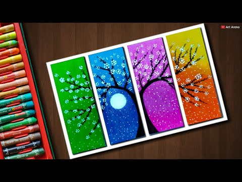 Flower Tree Drawing With Oil Pastels Step By Step Eachnow Com