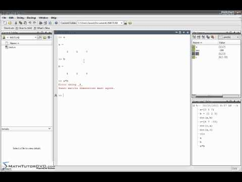 Matlab Sect 9 Calculating the Vector Dot Product and Cross Product