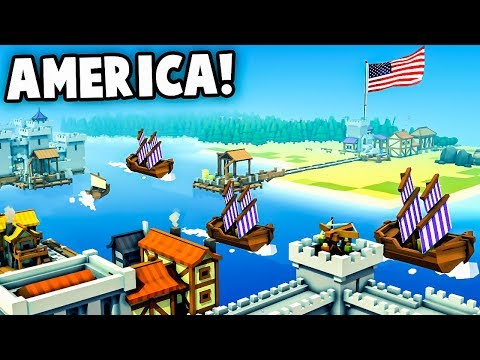 Discovering AMERICA!  NEW Colony, VIKING INVASION (Kingdoms and Castles Gameplay)