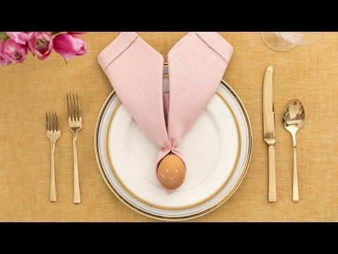 How to Fold a Napkin into Bunny Ears Around an Egg- Martha Stewart