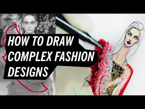 HOW TO DRAW COMPLEX FASHION DESIGNS | Fashion Drawing