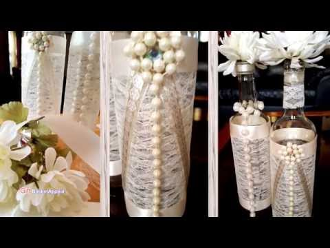 Pearls, Ribbon & Lace Wine Bottles