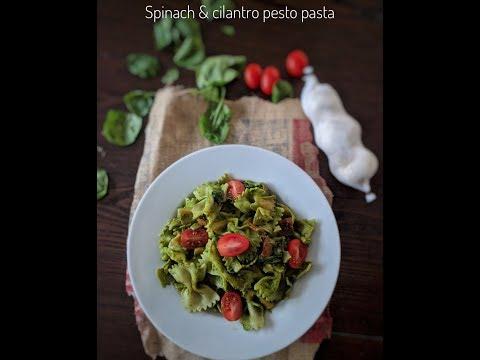Spinach & cilantro pesto pasta | Healthy pasta | How to make healthy spinach pesto pasta