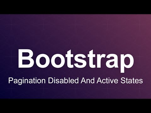Bootstrap 3 Tutorial 45 - Pagination Disabled And Active States