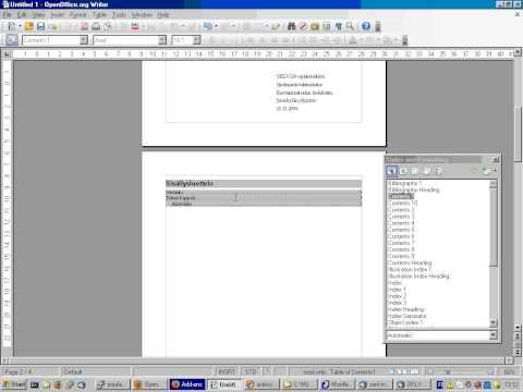 Näin päivität sisällysluettelon OpenOffice Writer 3.0:ssa