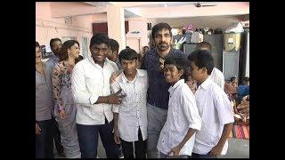 Raja The Great visits Devnar school for the Blind - Ravi Teja,Mehreen,Dil Raju & Anil Ravipudi