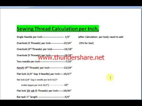 Sewing Thread Calculation Per Inch-How to Sewing Thread Calculation Per Inch