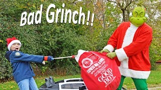 Bad Grinch steals Christmas presents from kids silly funny kids video