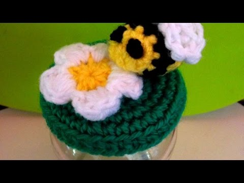 How To Crochet A Very Cute Honey Bee Jar Lid Cover - DIY Crafts Tutorial - Guidecentral