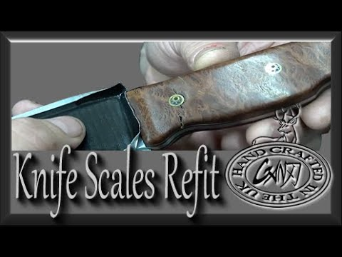 Burl Knife Scale FAIL & Refit Walnut Scales & Copper Plate Liners