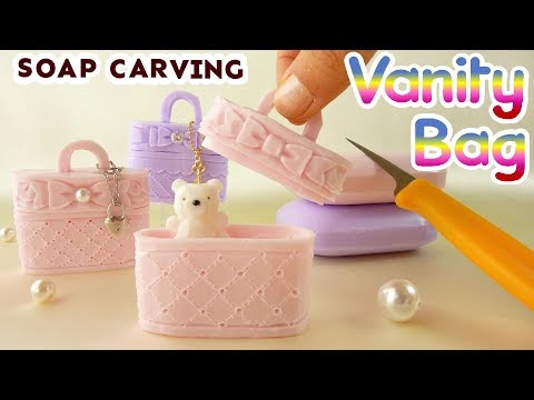 SOAP CARVING | Vanity Bag | Cosmético Bolsa | How to make | intermediate| DIY | ASMR | real sound |