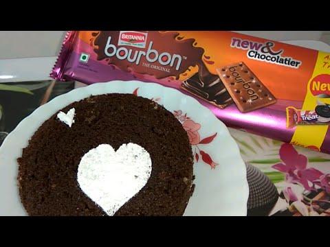 Bourbon biscuit cake in pressure cooker in hindi | Eggless Bourbon biscuit cake without oven recipe