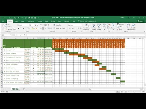 TECH-018 - Compare Estimated Time vs Actual Time in a Time Line (Gantt Chart) in Excel