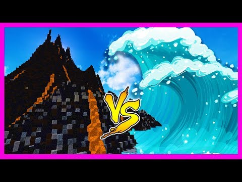 Minecraft - TSUNAMI BASE VOLCANO CHALLENGE (Tsunami Vs Volcano)