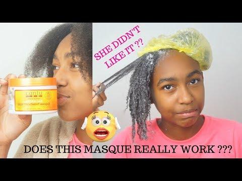 DEEP CONDITION  GIRLS NATURAL HAIR | USING CANTU Shea Butter Deep Treatment Masque