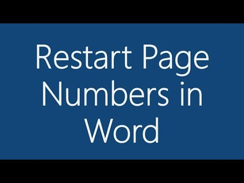 How to Restart Page Numbering in Word