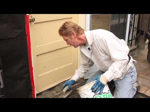 Cement or stucco door threshold instead of replacing a wood one