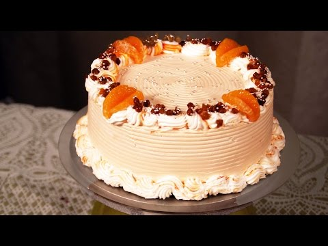 Eggless Nougat Cake  - Whipped Cream & Fruit Cake -  Easy Frosting At Home