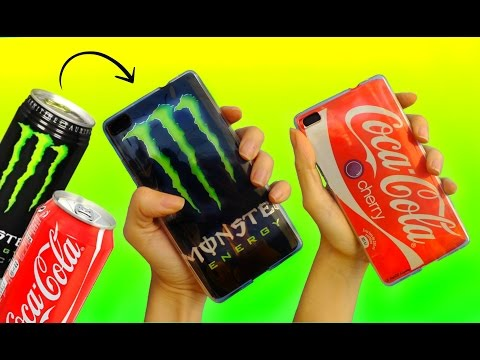 DIY PHONE CASES with SODA CANS | Coca Cola & Monster Energy