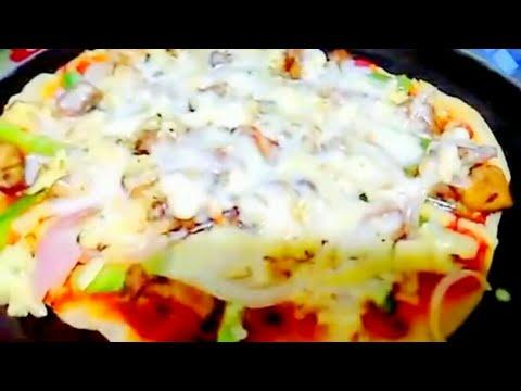 Best Chicken Pan Pizza recipe - Instant 5 min Tasty Pizza recipe - Spicy Chicken Pizza