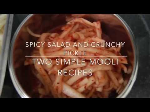 Two simple mooli recipes/salad and pickle