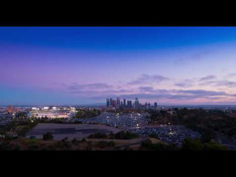 4K Time Lapse - Sunset Over Los Angeles & Dodger Stadium with Fireworks