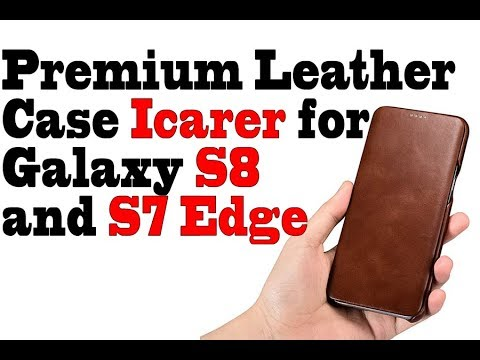 Premium Leather Case  Curved Edge Icarer for Samsung Galaxy S8 and S7 Edge