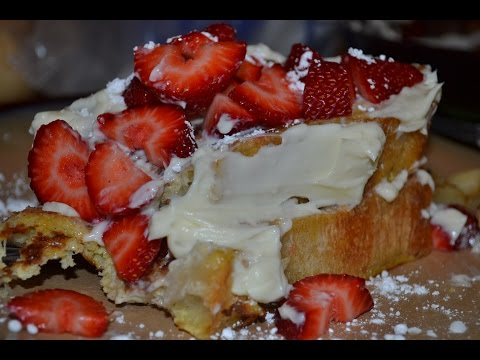 How to make French Toast with cream cheese glaze/frosting with strawberries