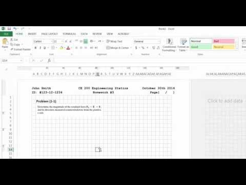 Creating a Homework Assignment Template in MS Excel