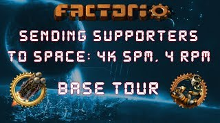 Factorio Sending Supporters To Space - Base Tour: 4k Science & 4 Rockets Per Minute Megabase