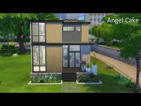 SIMS 4 SPEED BUILD   MODERN SMALL STARTER HOME   ANGEL CAKE