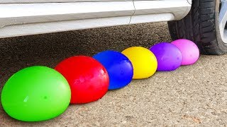 Experiment Car vs Colors Water Balloons | Crushing Crunchy & Soft Things by Car!