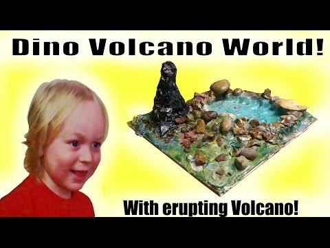 LOOK WHAT WE MADE! Erupting Dino Volcano World!