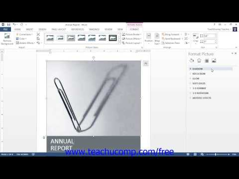 Word 2013 Tutorial Using the Format Picture Task Pane-2013 Only Microsoft Training Lesson 12.6