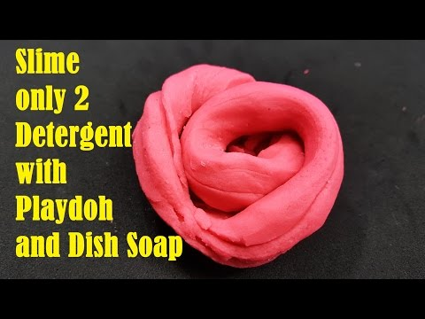 NO GLUE!! How to make Slime only 2 Detergent with Playdoh and Dish Soap