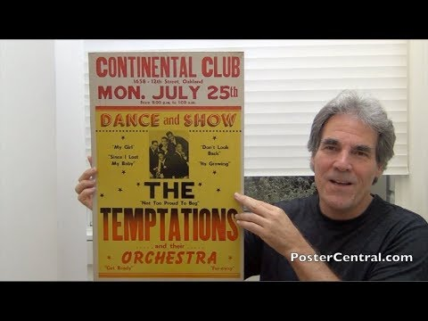 """Temptations 1966 Window Card – Classic Boxing-Style Poster w/""""My Girl"""""""