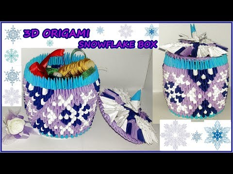 3d origami snowflake box.Tutorial.Christmas decorations.