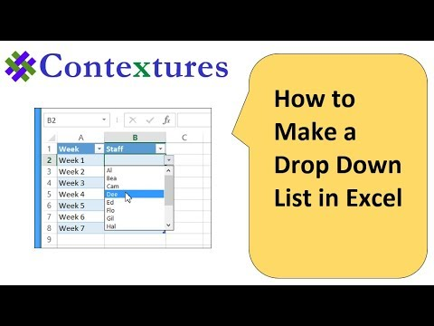 Create Drop Down List in Excel Worksheet Cell