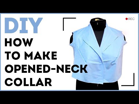 DIY: How to make opened-neck collar. Making a band collar which turns into an opened neck collar.