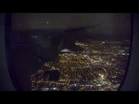 Emirates A380 night landing at Heathrow Airport