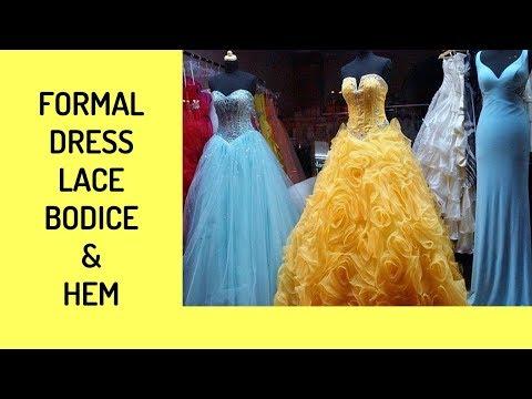 Formal Dress Lace Bodice Taken In & Tulle/Satin Skirt Hem