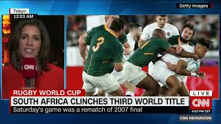 South Africans celebrate the Springboks win in the Rugby World Cup