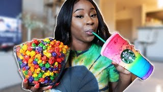 I Ate Only Rainbow Foods For 24 Hours Challenge