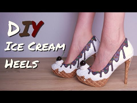 DIY ICE CREAM SUNDAE HIGH HEELS / CUPCAKE SHOES TUTORIAL / POLYMER CLAY & HOT GLUE