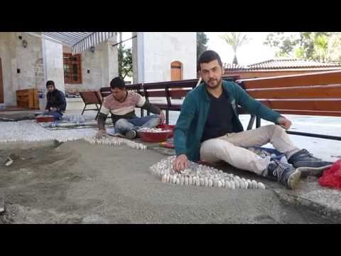 Dalyan mosque renovation - laying pebble path