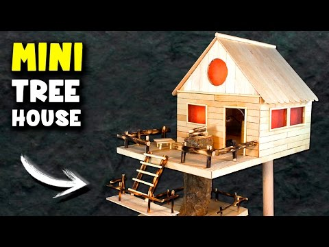 How to Make a MINI Tree House at Home | Popsicle Sticks House