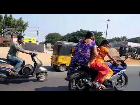 Indian Aunties riding motor bike..
