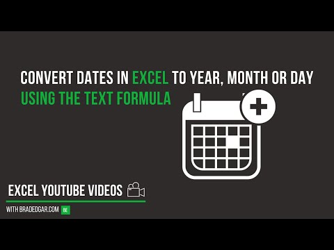 How to Convert Dates in Excel into Year, Month, or Day Using the Text Formula