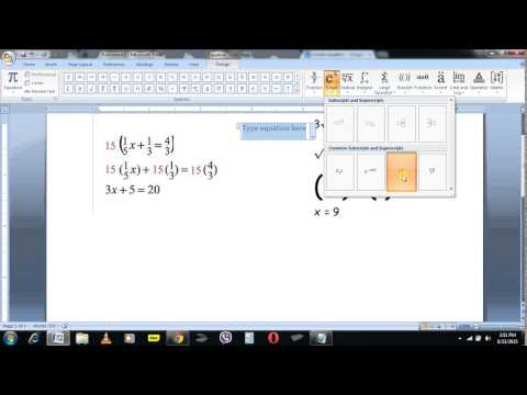 how to write maths equations in ms word.